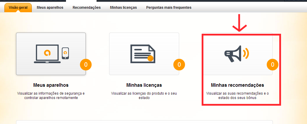 interface da conta do avast