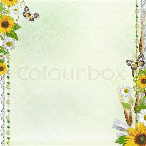 Sommer Hintergrund mit Rahmen und Blumen   Stockfoto