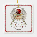 Personalize: Filigree Merry Christmas Angel Square Square Ornament