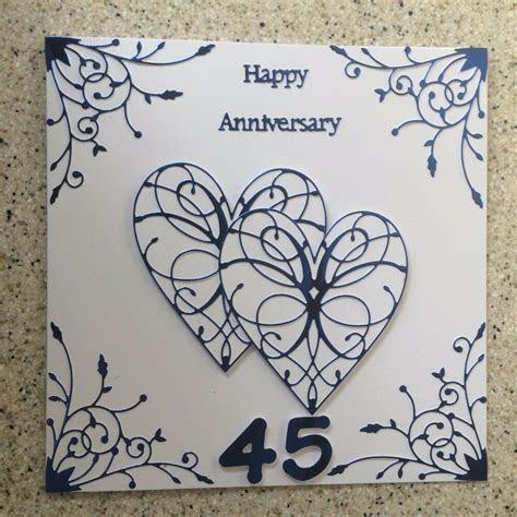 Handmade Sapphire Wedding Anniversary Card Happy 45th