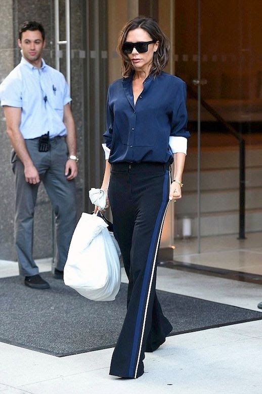 Le Fashion Blog Celebrity Style Victoria Beckham Black Flat Top Sunglasses Navy Button Down Shirt With White Cuffs Tailored Side Stripe Pants Via Star Style
