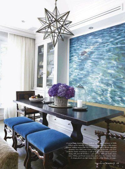 watery print, star chandelier, and blue stools.