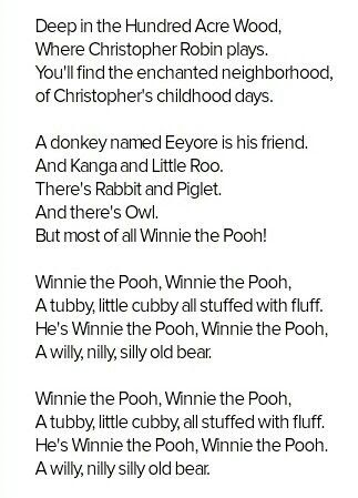 Deep In The Hundred Acre Wood Song Lyrics