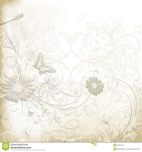 Elegant Clear Wedding Background With Floral Ornament