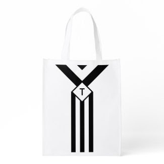 Black Stripes and Chevrons with Monogram on White Reusable Grocery Bag