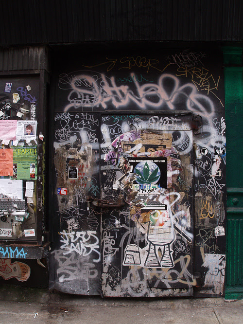 graffiti-covered entrance