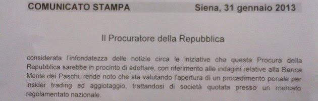 Comunicato Stamapa Procura di Siena