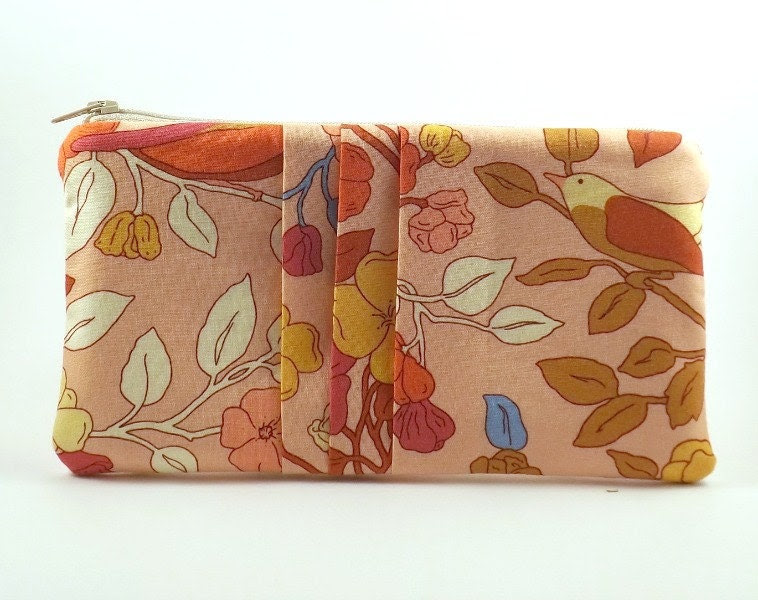 Pleated Pouch/ Zipper Pouch/ Peach Pink Pouch/Wallet/Gift for Women/Flowers/Birds/Blue - Eyelah
