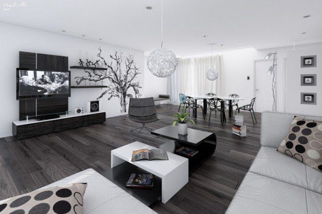 Ιδέες Σχεδιασμού  Σαλονιού  σε Άσπρο & Μαύρο12