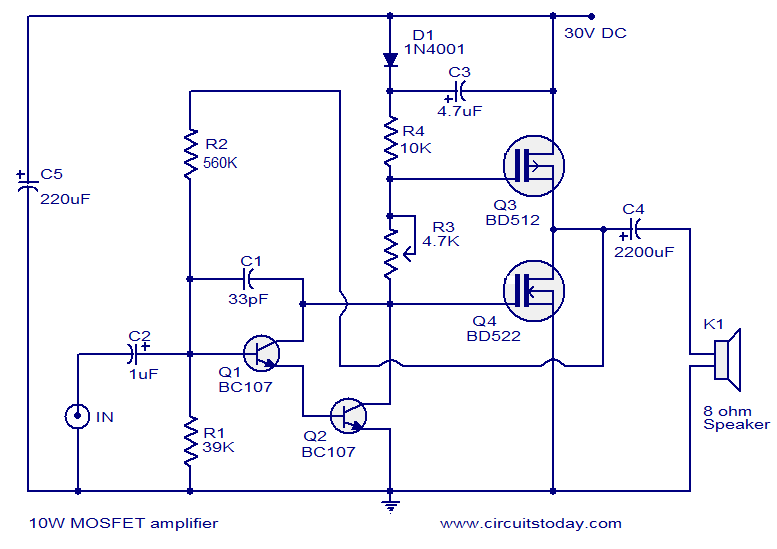 12v Mosfet Amplifier Circuit