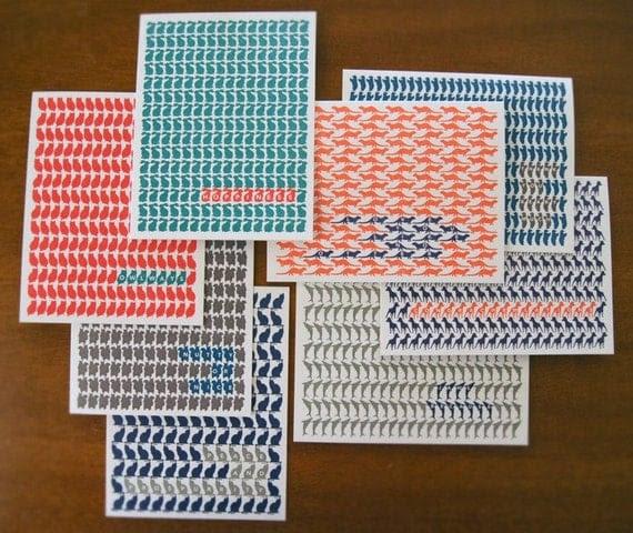 Letterpress Animal-Pattern Blank Notecards (Various)