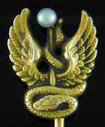Antique serpent and wings stickpin. (J9003)