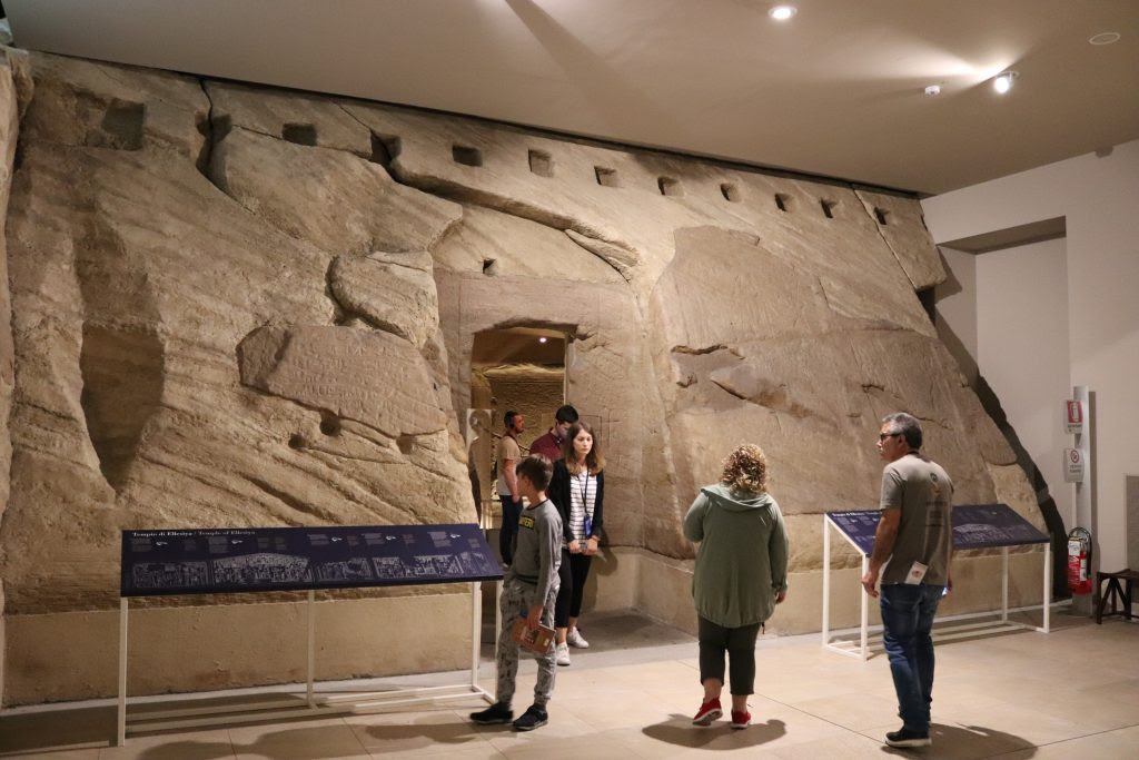 Exterior of the Nubian temple of Ellesiya, reconstructed            in the Museo Egizio, dating from the reign of Thutmose III            (ca. 1,479 – 1,425 BC)