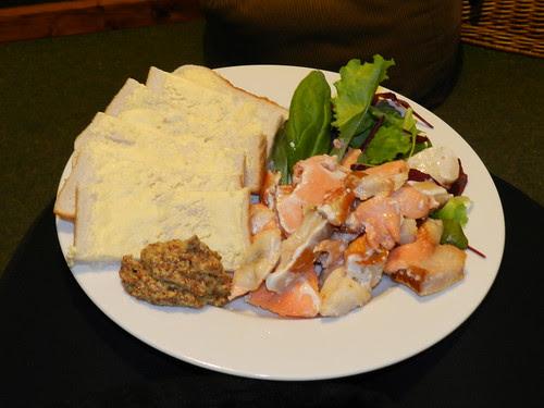 Nuked fish bits, mixed lettuce, white bread, wholegrain mustard..