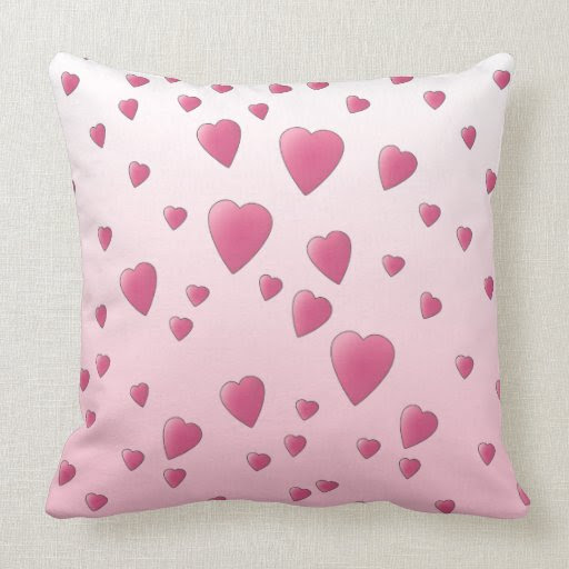 Pretty Pink Pattern of Love Hearts. Pillows from Zazzle.