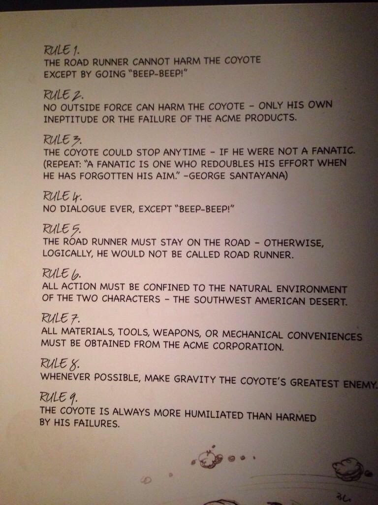 Chuck Jones' rules for Wild E. Coyote and the Roadrunner