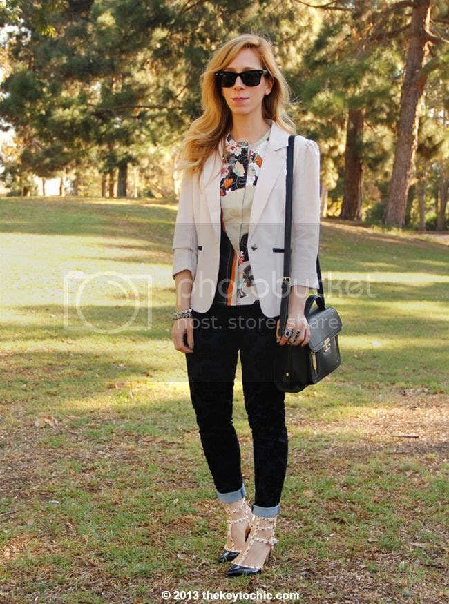 Los Angeles fashion blogger The Key To Chic wears a Phillip Lim for Target peplum top in paper floral print, Charlotte Russe blazer, Mossimo brocade jeans, and studded kitten heels
