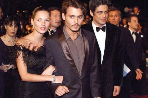 LE FASHION BLOG JOHNNY DEPP KATE MOSS JOHNNY AND KATE INSPIRATION STRAPLESS FEATHER DRESS BLACK EVENT 21