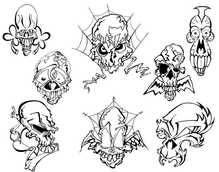 Black And White Skull Tattoos Designs