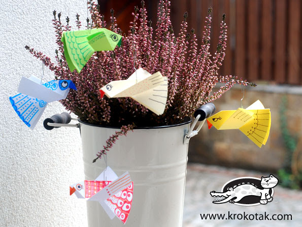 Paper birds for colouring - easy to make