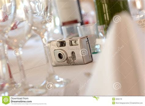 Disposable Camera On Wedding Reception Table Royalty Free