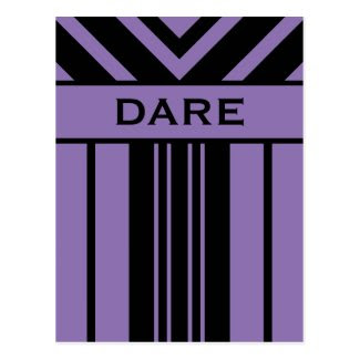 Dare Black and Purple Stripes & Chevrons Postcard