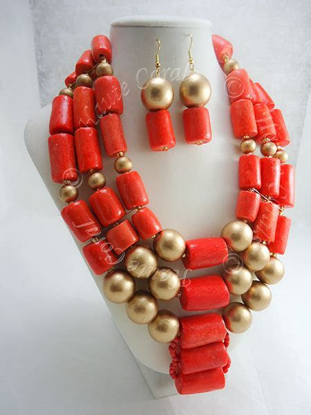 Adaobi   Coral and Gold Beaded Statement Necklace
