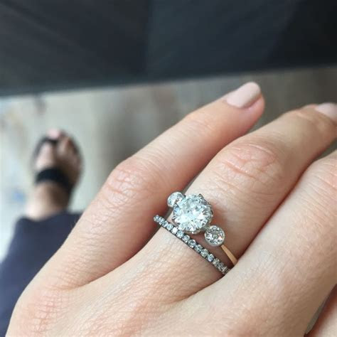 Vintage three stone Edwardian engagement ring paired with