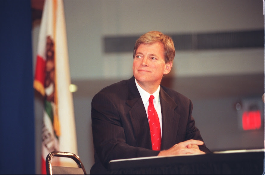 David Duke, former Ku Klux Klan grand wizard, during a debate with Joe Hicks at Cal State University, Sept. 25, 1996. (Brian Vander Brug/Los Angeles Times via Getty Images)