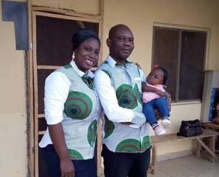 Late Alex Ogbu and wife with baby