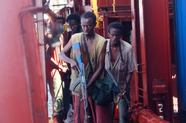 Aboard the MV Maersk Alabama, Muse and his gang of Somali pirates search for Captain Richard Phillips' crew in CAPTAIN PHILLIPS.