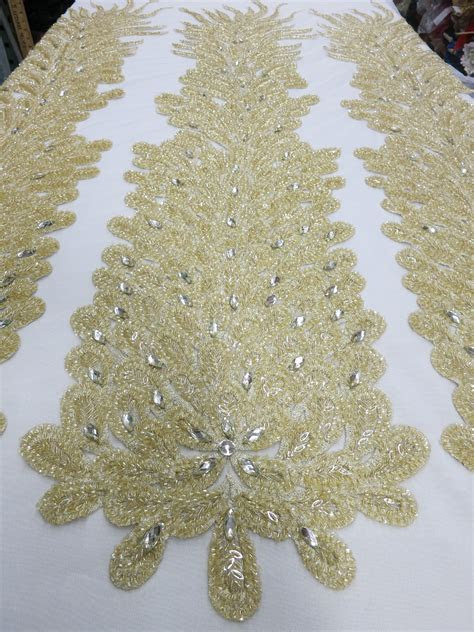 Champagne Embroidered Beaded Lace Mesh Fabric with Crystal