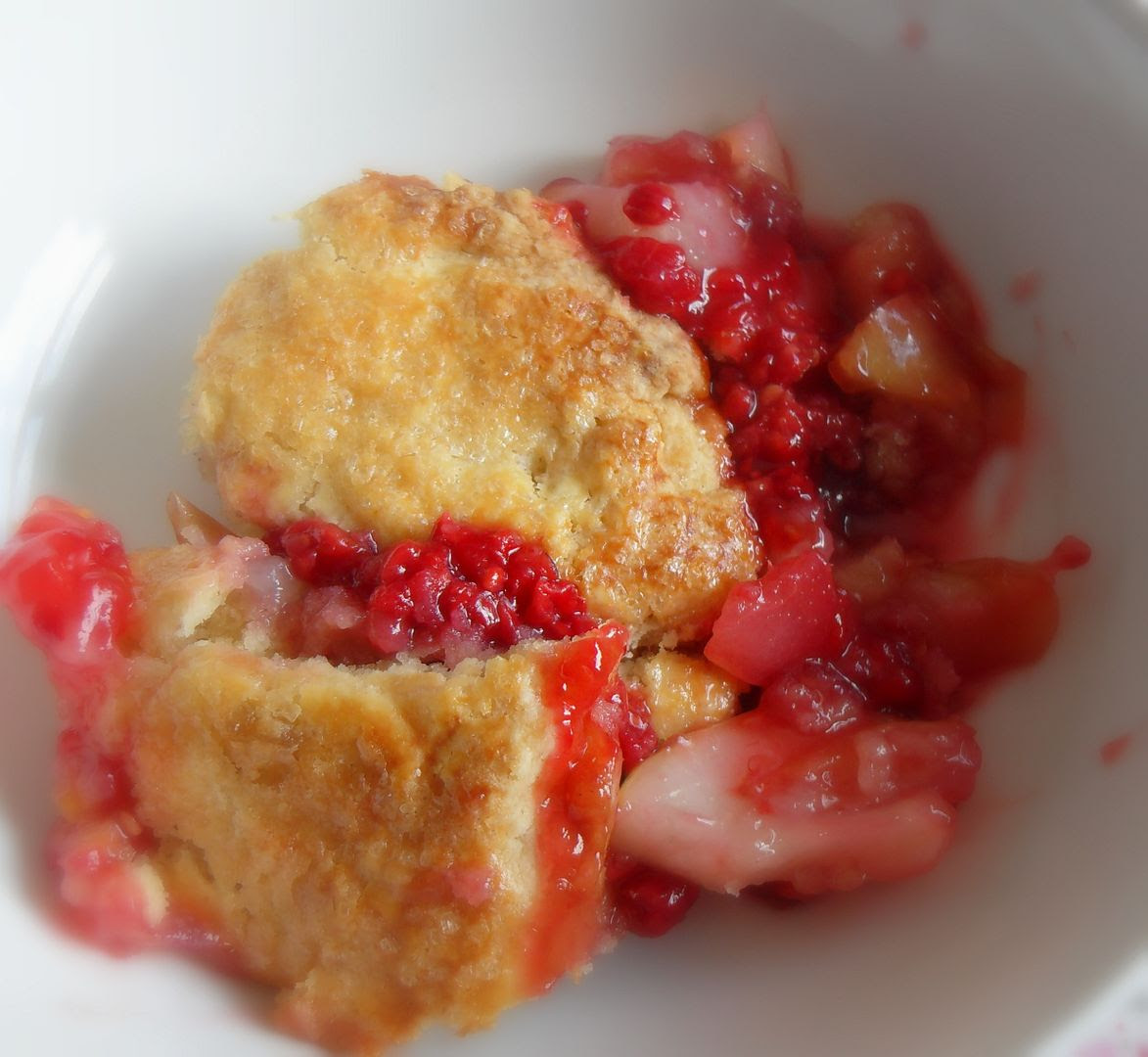 Gingered Pear and Raspberry Pandowdy