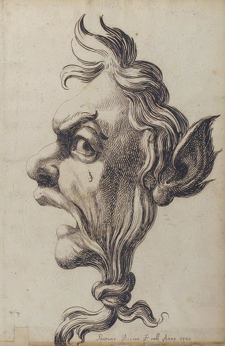 Large Grotesque Head Being Strangled by its Own Hair, 1727