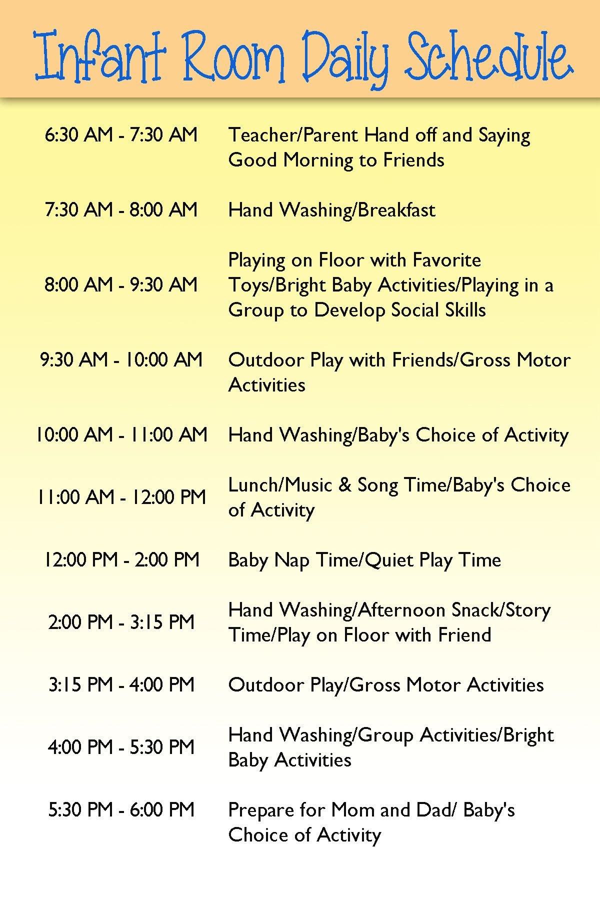 Infant Day care schedule | Infants | Pinterest | Day care, Home ...