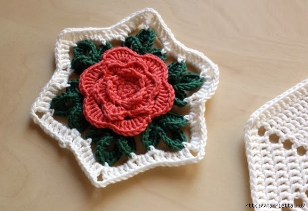 Crochet.  Tack with volume rose (5) (618x425, 140Kb)
