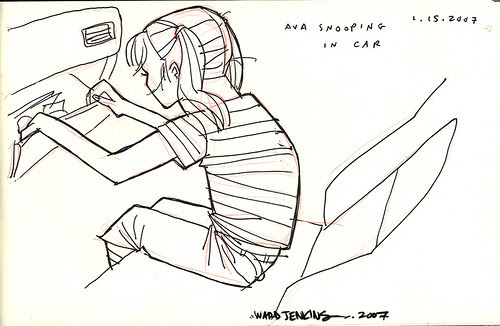 sketches: ava snooping in car