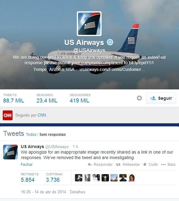 Tweet de desculpas publicado pela US AirWays (Foto: Reprodução Twitter)