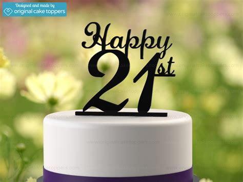 """""""Happy 21st""""   Black   21st Birthday Cake Topper"""