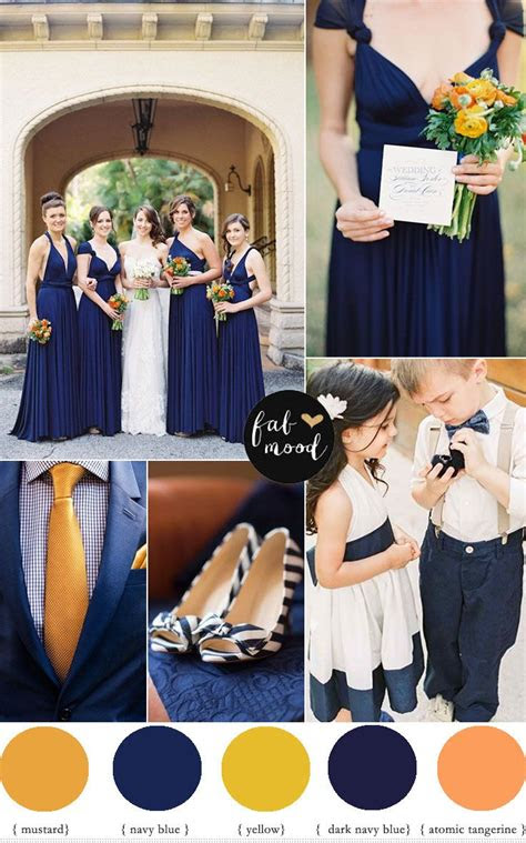 navy blueorangemustard wedding colour palette wedding