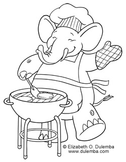 coloring bbq pages elephant happy ing july tuesday 4th