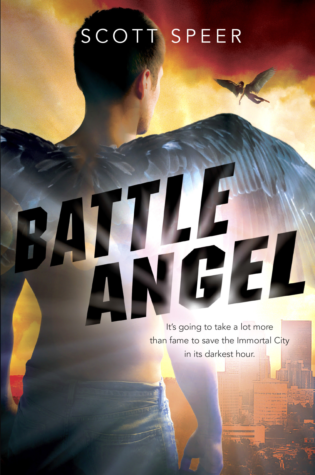 We are so excited to be bringing you the exclusive cover reveal of Scott Speer's Battle Angel today! Battle Angel is the third installment of the Immortal City series (which began with Immortal City and continued with Natural Born Angel). In Immortal City, we find a world in which angels are real, and not only that, they're celebrities. But what happens when a normal teenage girl falls in love with one of them? We were lucky enough to get to chat with the author, Scott Speer, who is no stranger to the inner workings of Hollywood and celebrity—he's a super talented music video and film director whose new TV series, Finding Carter, was just picked up by MTV! Can you give us the scoop on what the Immortal City series is about? The Immortal City series takes place in an alternate Los Angeles called Angel City, where Guardian Angels are celebrities who save humans for money. They are wildly famous and rich, living in mansions and driving Lamborghinis, and are idolized by throngs of devoted fans. The series is told through the eyes of Maddy Montgomery, a senior at Angel City High and the only girl in the city who doesn't seem to care about the Immortals or their lifestyle. When, one night, she accidentally runs into Jackson Godspeed, the most famous Guardian Angel, a journey of romance, hidden destinies, and deadly consequences begins. What can we expect from BATTLE ANGEL? Battle Angel is the third—and final—book in the series. It finds Maddy and the Angels facing an army of demons rising from below the Pacific Ocean to overtake Angel City—and eventually the world. Meanwhile, Maddy's complicated relationship with Jacks is put to the ultimate test when Tom, the human who comes into Maddy's life in Natural Born Angel (Book 2), proposes to her. Alliances will be broken, promises will be made, and Maddy will ultimately be forced to choose between Angels and humans, between Jacks and Tom, and between life and death.   What do you think of the covers for the series? Do they do a good job of representing the books? My favorite covers are the book 1 and 2 hardcover editions, as they are images of Jacks and Maddy, respectively. What I like about the Book 3 cover is we get a little more scope in the image, and we get to see Angel City itself. In a similar way, the third book expands the horizons of the series to include epic action, pitched battles, and ultimate life-and-death choices for all of the principal characters. I really wanted to write a book that felt like some of my favorite action movies—Transformers or Braveheart or Lord of the Rings: Two Towers. Who's your favorite character in the Immortal City series?   The answer is as easy as it is unoriginal—Maddy. Maddy's character really grew out of my own experiences and observations living and working in Los Angeles, and many of her experiences throughout the series are taken directly from my own. I do also have a soft spot for Detective Sylvester, a man who holds himself to the thankless standard of doing the right thing, even and especially when no one is looking. What are you working on now? I'm writing a new book that I'm very excited about; meanwhile directing in LA keeps me busy and slightly manic. My first TV series, Finding Carter, premieres on MTV this summer, while my next movie, Spinback, is currently casting at Lionsgate.    Battle Angel will be released on August 28, 2014! Meanwhile you can pick up the first two books in the series, Immortal City and Natural Born Angel. And don't forget to check out the AMAZING cinematic trailer Scott made for Immortal City.