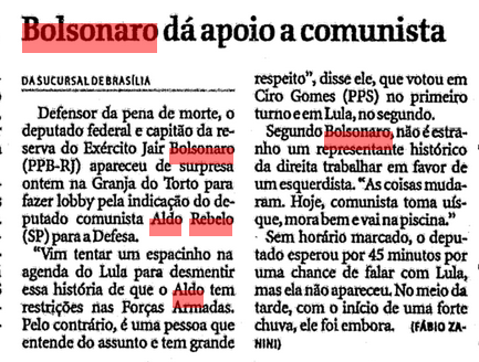 Votou em Lula e fez lobby para Aldo Rebelo – prova que o nobre deputado apoia quem lhe convém. Cadê seu Deus agora?  (Arquivo FSP - Matéria de 19/12/2002)