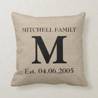 Monogram faux linen burlap rustic chic initial jut throw pillows