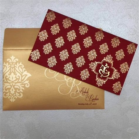 Indian Wedding Cards   W 1245 with Shimmery Finish Paper