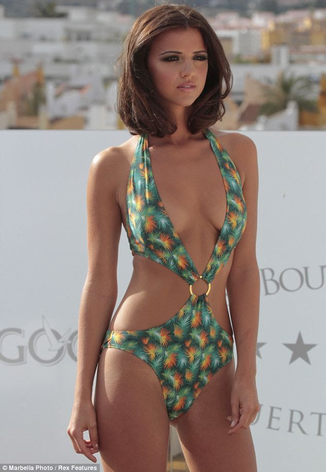 Barely there: Lucy Mecklenburgh may have posed up a storm in Marbella but she has now been suspended from the show