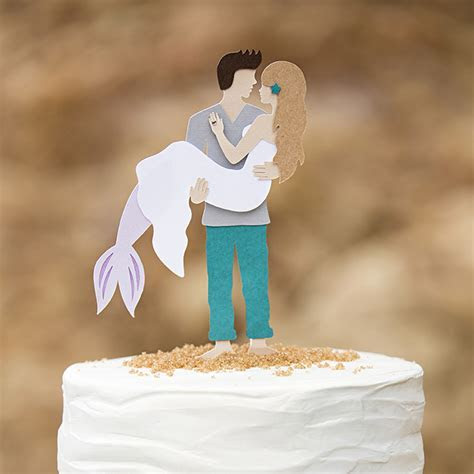 You HAVE To See This DIY, Mermaid   Man Wedding Cake Topper!