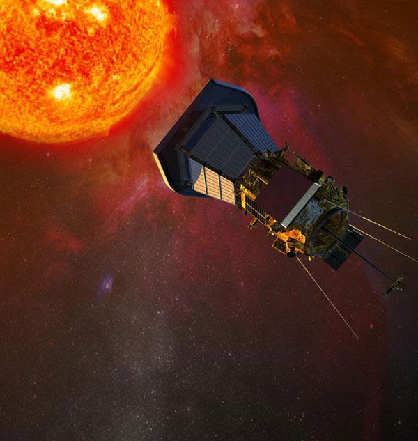 An artist's concept of NASA's Solar Probe Plus spacecraft approaching the sun.