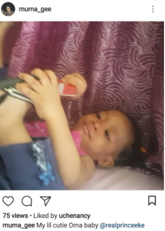 Singer, Muma Gee shares adorable photo of her daughter, tags her estranged husband, Prince Eke on the post