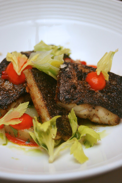 Seared Spanish Mackerel with Piquillo Vinaigrette